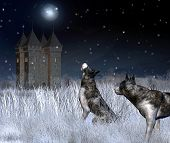 picture of fantasy landscape  - Digital render of a lonely castle in a moonlit winter mountain landscape with wolves in the foreground - JPG