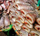 Постер, плакат: Dried fish sale on fish market