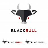 Vector minimalistic flat animal head logotype. Black bull logo. poster