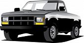 pic of pick up  - clip art illustration artwork of a black pick up truck illustration - JPG