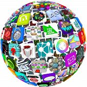 picture of smart grid  - Many smart phone application icons arranged in a spherical shape - JPG