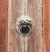 ������, ������: door knocker A lion head doorknob on a wood plate old door