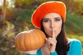Постер, плакат: Woman with Pumpkin Holding a Secret