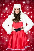 Woman In Santa Costume And White Furry Hat poster