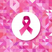Постер, плакат: Breast cancer campaign ribbon hipster pattern