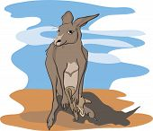 Постер, плакат: kangaroo with baby kangaroo