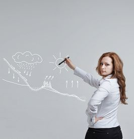 image of transpiration  - Young woman drawing schematic representation of the water cycle in nature - JPG