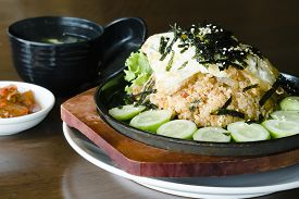 stock photo of kimchi  - Korean fermented vegetable Kimchi fried rice  - JPG