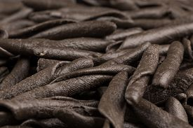 picture of cuttlefish  - italian seppia pasta fusilli (macaroni) with cuttlefish ink isolated on white background ** Note: Shallow depth of field - JPG