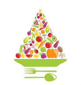 foto of food pyramid  - Illustration Pyramid of Vegetables and Fruits - JPG