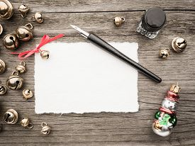 pic of inkwells  - Christmas decoration card inkwell quill and bells - JPG