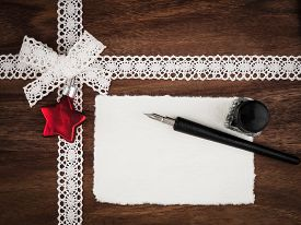 foto of inkwells  - Christmas cace christmas card quill and inkwell copy space - JPG