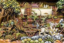 image of mural  - Section of an ancient mural wood carving art from Thailand - JPG