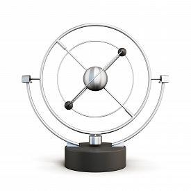 foto of pendulum  - Kinetic motion pendulum isolated on white background - JPG