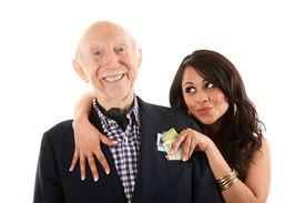 picture of snob  - Rich elderly man with Hispanic gold - JPG
