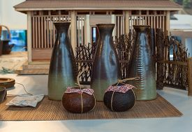 picture of raku  - View of oriental ceramic bowls on the table - JPG