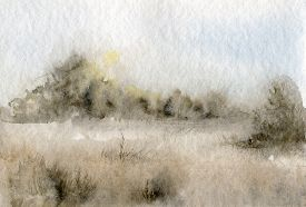 foto of grass area  - abstract watercolor landscape with mist and rising sun - JPG