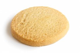 stock photo of shortbread  - Single round shortbread biscuit isolated on white.
