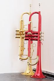 picture of wind instrument  - classical music wind instrument trumpets - JPG