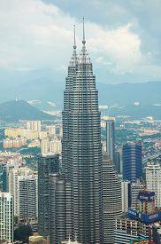 stock photo of petronas towers  - KUALA LUMPUR MALAYSIA  - JPG
