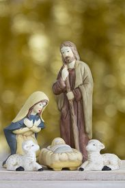 image of baby sheep  - Nativity Scene with Baby Jesus Mary Joseph and Sheep on a Golden Background with Copy Space  - JPG