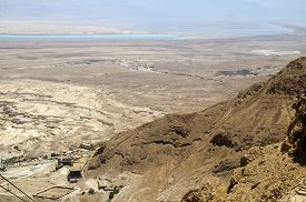 stock photo of masada  - Judean desert and Dead Sea in Israel view from the mountain Masada fortress - JPG