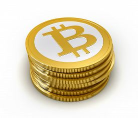 image of bit coin  - 3d render of abstract bitcoin coin over white background - JPG