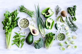 pic of pea  - Fresh green vegetables variety on rustic white background from overhead - JPG