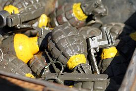 image of grenades  - Grenades used during the World War II - JPG