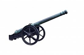 picture of cannon  - Old cannon isolated on white background with beautiful pattern - JPG