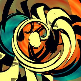 picture of queer  - Blue orange abstract art - JPG