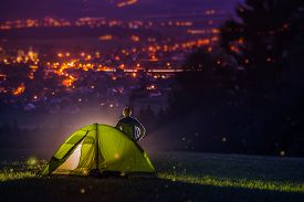 pic of camper  - Countryside Camping with Scenic City View Down the Valley - JPG