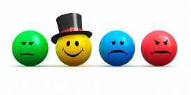 stock photo of emoticon  - Color smiley faces emoticons with four different moods - JPG