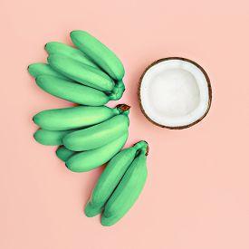 stock photo of vanilla  - Fashion photo set bananas and coconut - JPG