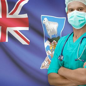 stock photo of falklands  - Surgeon with flag on background  - JPG