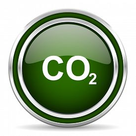 image of carbon-dioxide  - carbon dioxide green glossy web icon modern design with double metallic silver border on white background with shadow for web and mobile app round internet original button for business usage  - JPG