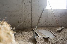 foto of spade  - barn tools consist of a spade and a broom at the stable  - JPG