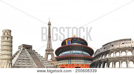 poster of Famous monuments of the Europe, Asia and America - Eiffel tower in Paris, Leaning Tower and Coliseum