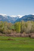 image of abram  - Mt Abrams in the distance at the head of the Uncompahgre valley from a road near Ridgway Colorado - JPG