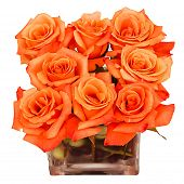 stock photo of flower-arrangement  - Flower centerpiece isolated on white with orange roses - JPG