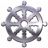picture of shakti  - 3D Silver Buddhism Symbol Wheel Of Dharma - JPG