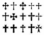 picture of maltese-cross  - Set of religious cross symbols isolated on white - JPG