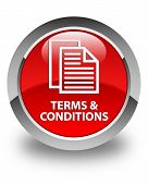 Terms And Conditions (pages Icon) Glossy Red Round Button poster