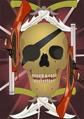 pic of crossed pistols  - Skull with the crossed knifes and pistols raster illustration - JPG