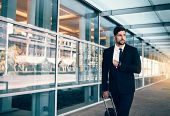 Business Executive Carrying Suitcase In Airport poster