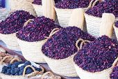 Dry Herb Hibiscus For Tea In Baskets. poster