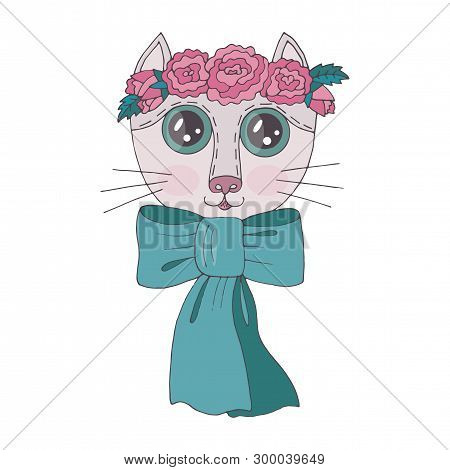 poster of Cartoon Colorful Cat With Flower On The Head For Coloring Book Or Pages
