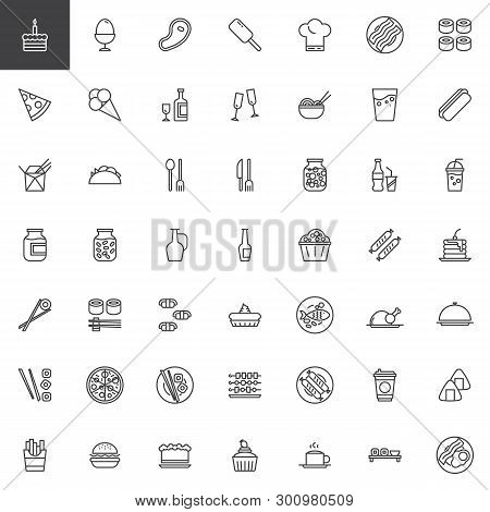 poster of Restaurant Food Line Icons Set. Linear Style Symbols Collection, Outline Signs Pack. Vector Graphics