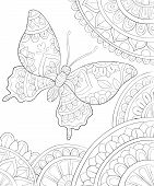 A Cute Butterfly  On The Abstract Background With Ornaments Image For Relaxing Activity.coloring Boo poster