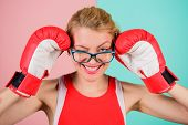 Woman Boxing Gloves Adjust Eyeglasses. Win With Strength Or Intellect. Strong Intellect Victory Pled poster